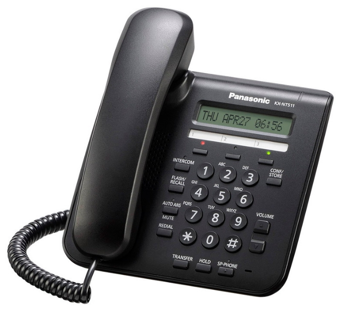 VoIP-телефон Panasonic KX-NT511PRUB, WAN, LAN, есть определитель номера