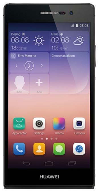 Huawei Ascend P7 Black - (Android 4.4; GSM 900/1800/1900, 3G, LTE; SIM-карт 1; HiSilicon Kirin 910T, 1800 МГц; RAM 2 Гб; ROM 16 Гб; 2500 мАч; 13 млн пикс., светодиодная вспышка; есть, 8 млн пикс.; датчики - освещенности, приближения, компас)