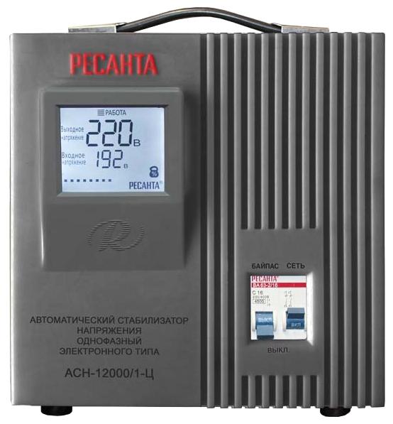 Ресанта ACH-12000/1-Ц - релейный; 12 кВт; Вход 140-260 В; однофазное; Выход 202-238 В; КПД 97% 63/6/10