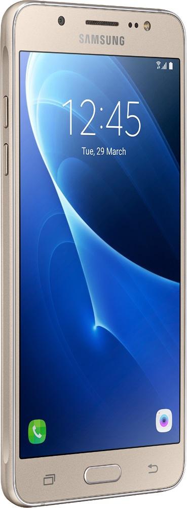 Samsung Galaxy J5 (2016) SM-J510 Gold - (; GSM 900/1800/1900, 3G, 4G LTE; SIM-карт 2; 1200 МГц; RAM 2 Гб; ROM 16 Гб; ; 13 млн пикс., светодиодная вспышка (фронтальная и тыльная); есть, 5 млн пикс.; датчики - освещенности, приближения)