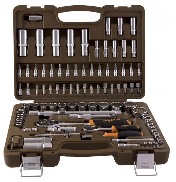 OMBRA OMT94S12, 94 предмета - автомобильный; предметов 94 шт • Головки: 4-32 мм. Трещётка есть. Вороток есть. Кардан есть. • Биты: