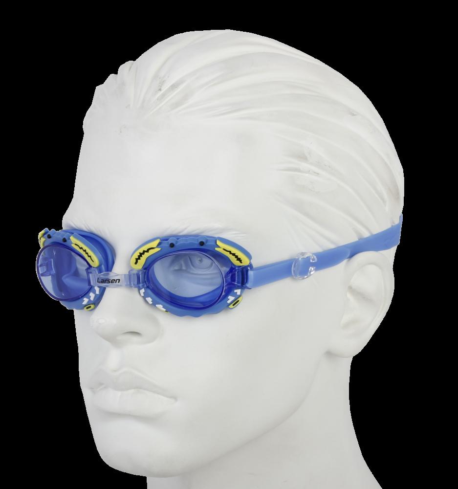 """Очки плавательные Larsen DR30 """"Крабик"""" (силикон), синий"""
