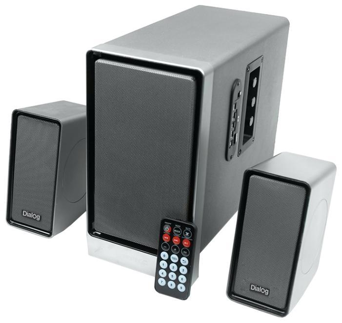 Dialog AP-207 - 38 Вт; 40-20000 Гц; полос 1; USB для флэшки есть; корпус - MDF; корпус - пластик; питание от бытовой электросети; пульт