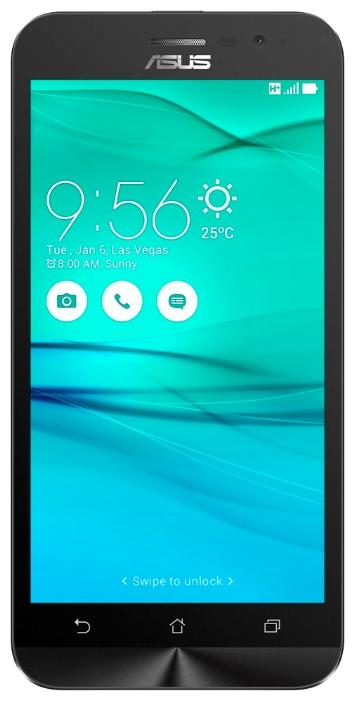 Asus ZenFone Go ZB500KG 1/8Gb white - (; GSM 900/1800/1900, 3G; SIM-карт 2 (Micro SIM); RAM 1 Гб; ROM 8 Гб; 2600 мАч; 8 млн пикс., светодиодная вспышка; есть, 2 млн пикс.; датчики - освещенности, приближения, компас)