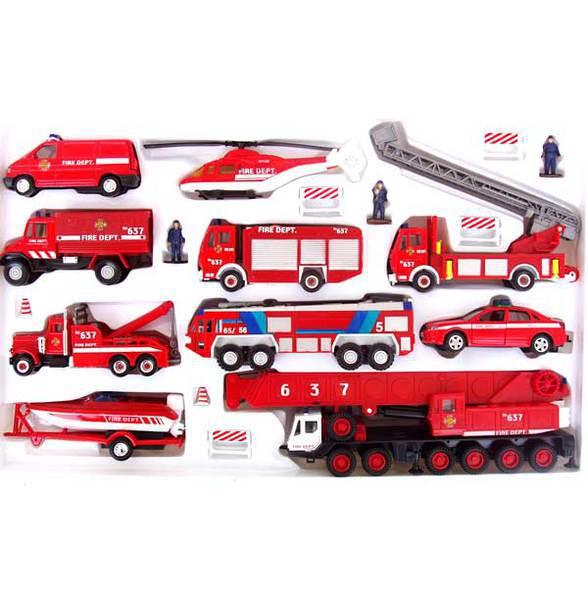 Машинка Welly, Пожарная служба, с аксессуарами 99610-20B