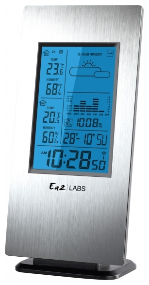 EA2 AL 808, silver - (метеостанция; Градусник - есть (-40 - 50° C); Гигрометр - в помещении, на улице, в диапазоне 20 - 99%; Барометр - есть, отображение на экране атмосферного давления • Выносной датчик : беспроводной (радиус приема 30 м), макс. число датчиков - 3, в комплекте - 1)