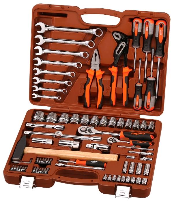 OMBRA OMT77S12 - Универсальный; предметов 77 шт • Гаечные ключи: 8-19 мм • Головки: 4-32 мм. Трещётка есть. Вороток есть. Кардан есть