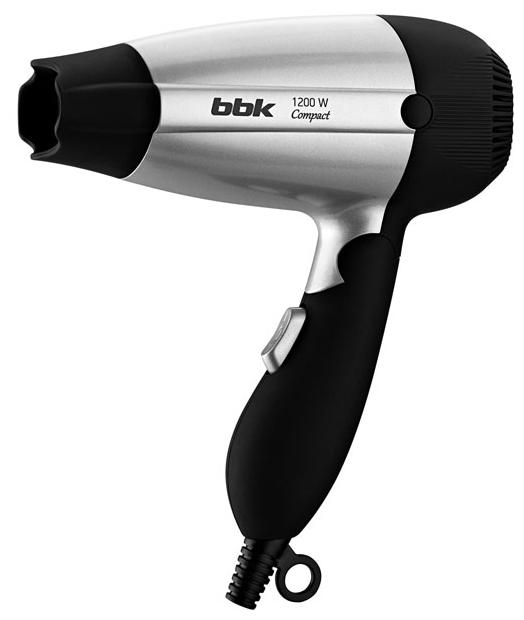 BBK BHD1200 black/silver - компактный фен; режимов 2 BHD1200 черный/серебро
