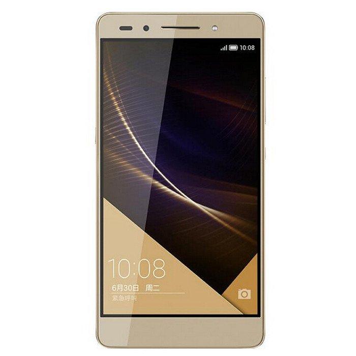 Huawei Honor 7 Gold, 16Gb - (Android 5.0; GSM 900/1800/1900, 3G, 4G LTE, LTE-A Cat. 6; SIM-карт 2 (nano SIM); HiSilicon Kirin 935; RAM 3 Гб; ROM 16 Гб; 3000 мАч; 20 млн пикс., светодиодная вспышка (фронтальная и тыльная); есть, 8 млн пикс.; датчики - освещенности, приближения, гироскоп, компас, считывание отпечатка пальца)