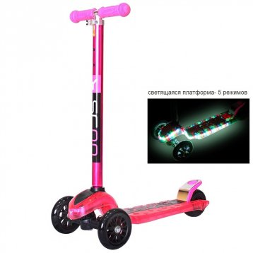 Y-Scoo Maxi Laser Show (светящаяся платформа) pink metallic