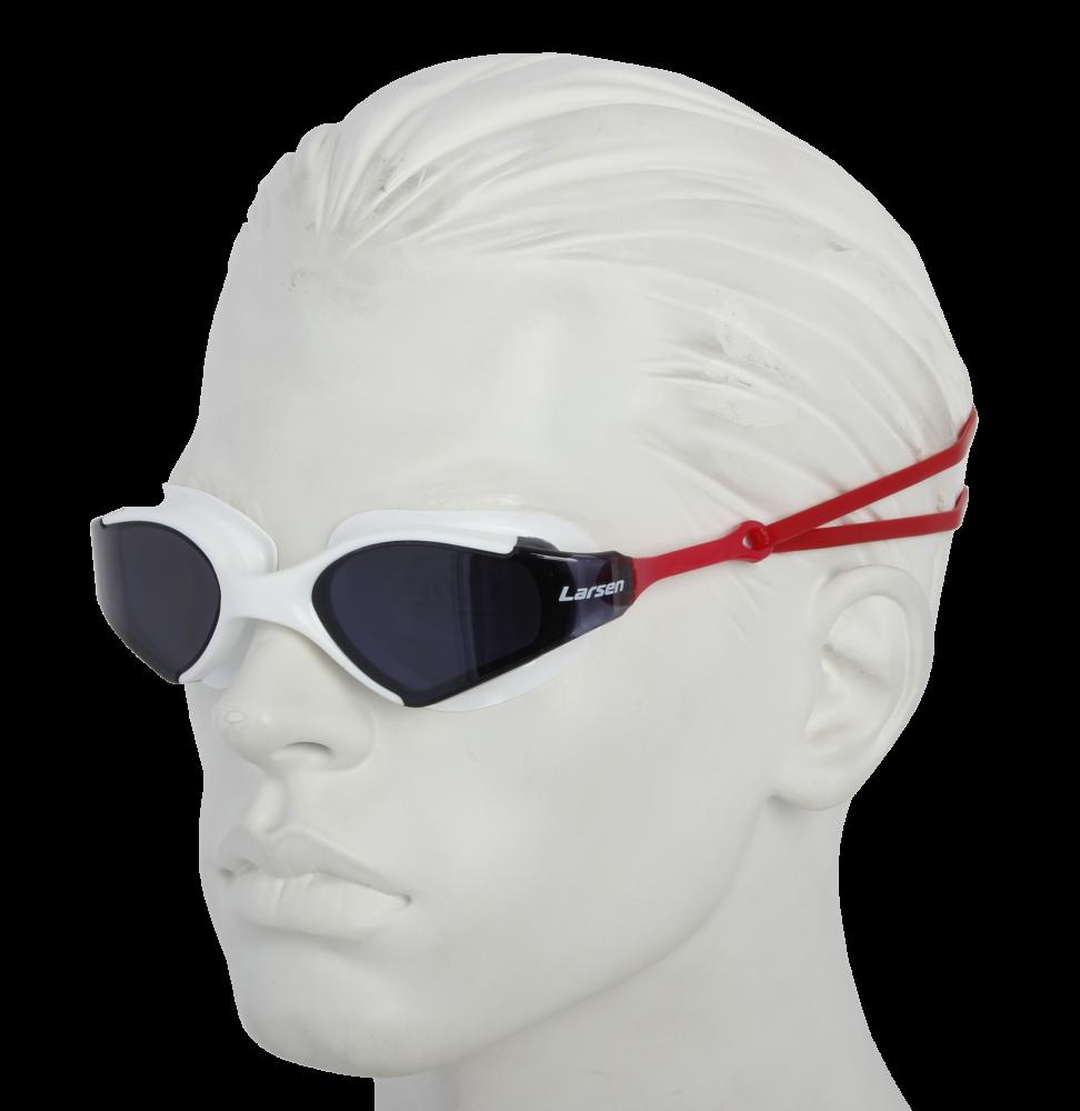 Очки плавательные Larsen S53 белый/красный (ТРЕ)