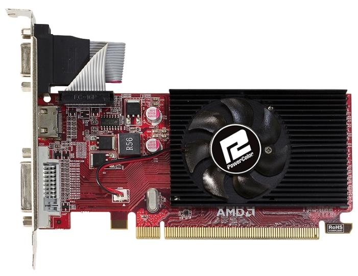 PowerColor Radeon R5 230 (1Gb GDDR3, DVI + HDMI + HDCP) - (AMD Radeon R5 230, 40 нм, 625 МГц, 1024 Мб GDDR3@1000 МГц 64 бит, TDP 19 Вт • Разъёмы: DVI, поддержка HDCP, HDMI, VGA.)