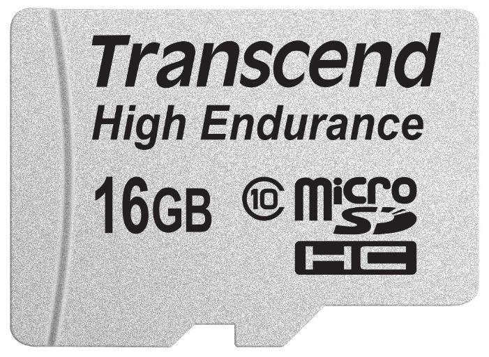 Transcend High Endurance MicroSDHC 16Gb class10 R/W 21/20 MB/s - (16 Гб; microSDHC; Class 10; чтение 21 Мб/с; запись 20 Мб/с; SD-адаптер)