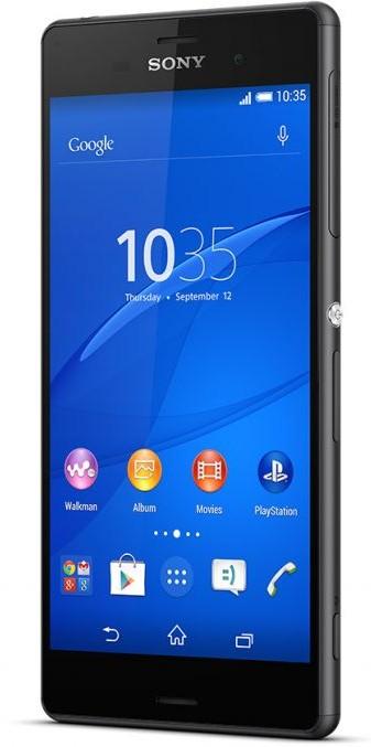 Sony Xperia Z3 D6603 Black - (Android 4.4; GSM 900/1800/1900, 3G, 4G LTE, LTE-A Cat. 4; SIM-карт 1 (nano SIM); Qualcomm Snapdragon 801 MSM8974AC, 2500 МГц; RAM 3 Гб; ROM 16 Гб; 3100 мА?ч; 20.70 млн пикс., светодиодная вспышка; есть, 2.2 млн пикс.; датчики - освещенности, приближения, гироскоп, компас, барометр)