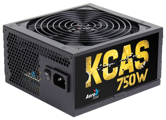 AeroCool KCAS-750M 750W - 750 Вт, ATX12V 2.4, 1 вентилятор (140 мм), PFC активный, линия +12В(1) - 56 A • Molex: 4 / SATA: 7 / CPU