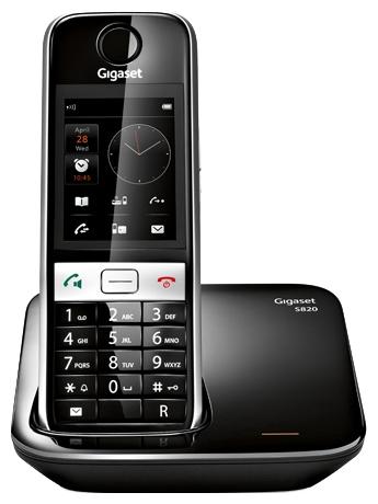 Gigaset S820, Black - (DECT/GAP; АОН/Caller ID: есть/есть, журнал на 20 номеров; Дисплей на трубке (цветной); спикерфон есть • база, трубка)