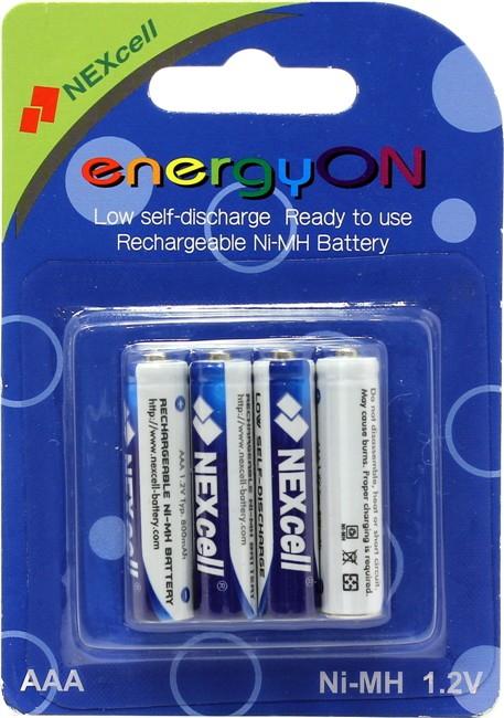 NEXcell energyON, 1.2 В, 800 мАч, Ni-MH, 4 шт. AAA - Аккумулятор Ni-MH; AAA; 800 мАч; 1.2 В; в упаковке 4 шт.