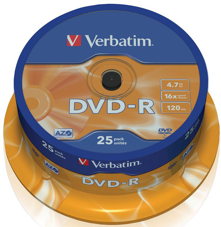 DVD-диск Verbatim 4.7 Gb, 16x, Cake Box (25шт) 43522""