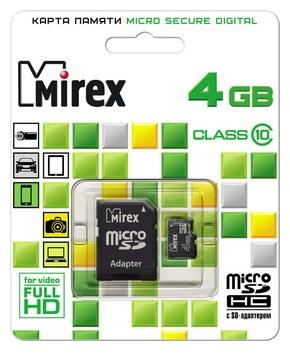 Карта памяти Mirex microSDHC Class 10 4GB + SD adapter, Black