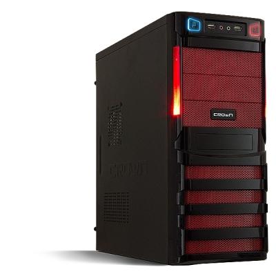 Crown CMC-SM162 450W Black - (черный, ATX, mATX, Midi-Tower, БП 450 Вт, 4 внутр. 5.25'', 4 внутр. 3.5'', USB x2, наушники, микрофон)