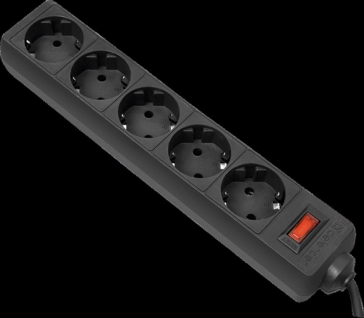 Defender ES 3, black - (Сетевой фильтр; всего розеток 5; 2200 Вт; 10 A; провод 3 м)