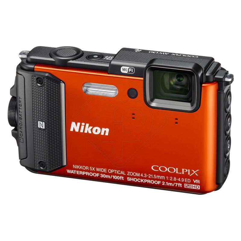 Nikon Coolpix AW130 Orange - (16.76 млн, оптический zoom: 5x, 1920x1080, 7 кадр./сек, 921000 точек, 3 дюйма)