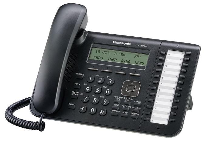 VoIP-телефон Panasonic KX-NT543RU-B, black, WAN, LAN, есть определитель номера