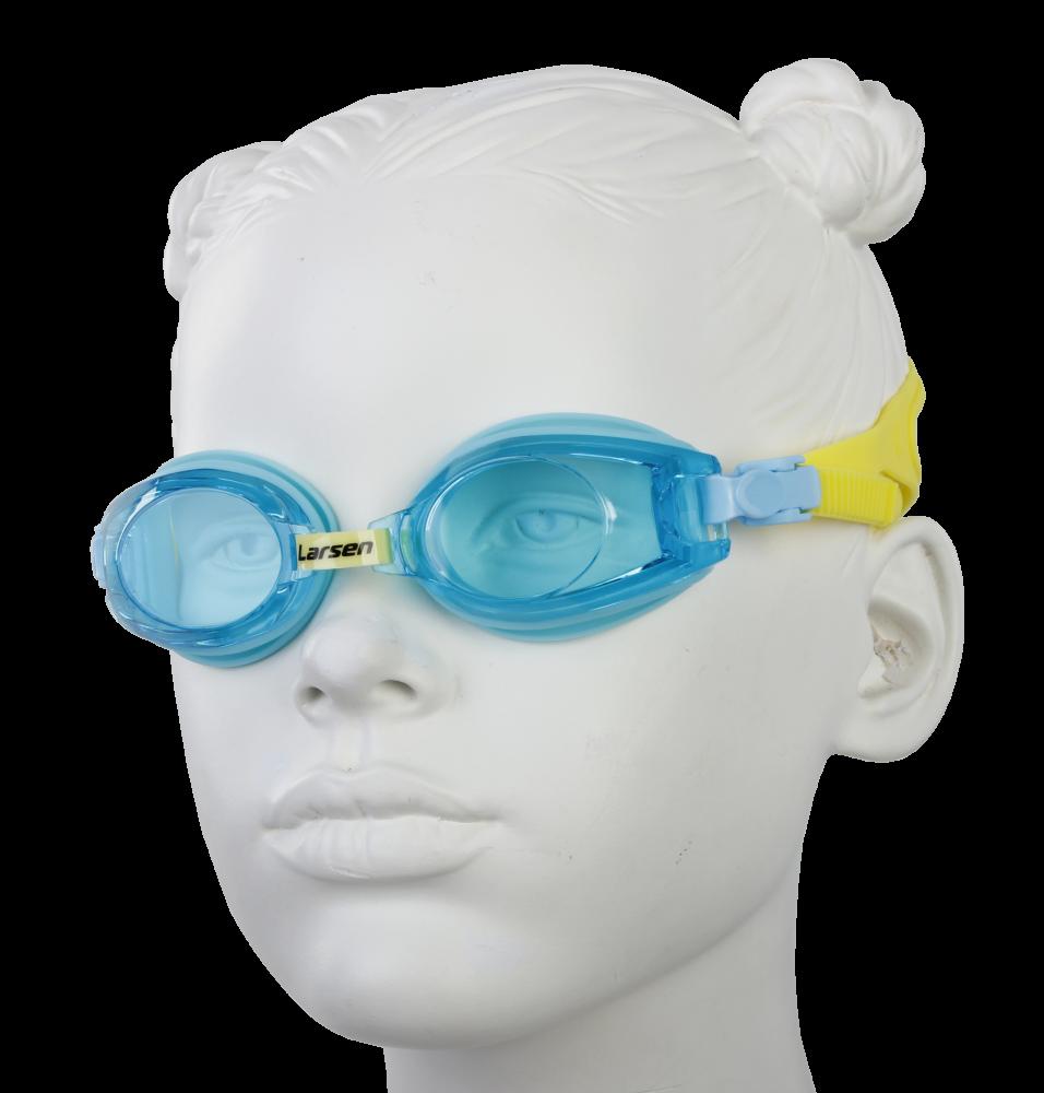 Очки плавательные Larsen DR5 голубой/зеленый (силикон)