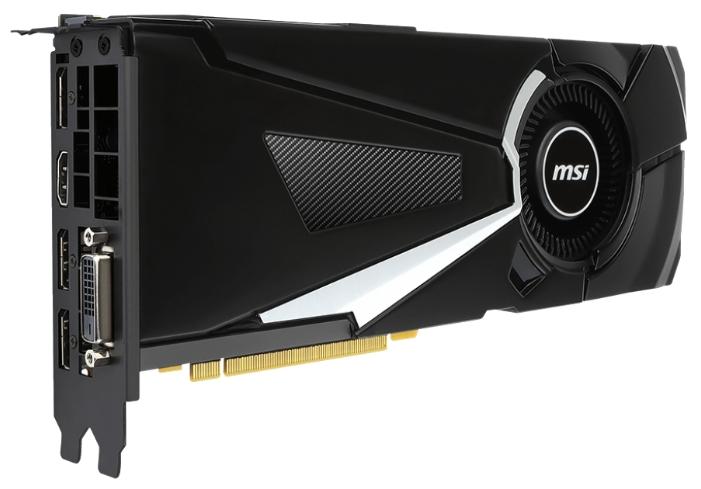 MSI GeForce GTX 1080 AERO 8G OC (8Gb GDDR5X, DVD-D + HDMI + 3xDP) - NVIDIA GeForce GTX 1080, 16 нм, 1632 МГц, boost 1771 МГц, 8192