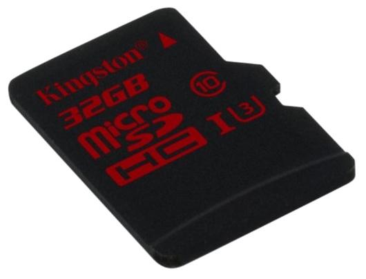 Kingston MicroSDHC 32Gb class10 SDCA3/32GBSP - (32 Гб; microSDHC; Class 10; чтение 90 Мб/с; запись 80 Мб/с)