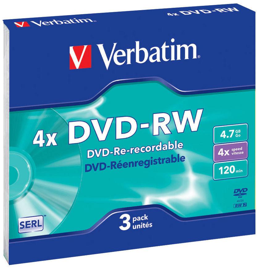 DVD-диск Verbatim 4.7 Gb, 4x, Slim (3шт.) 43635