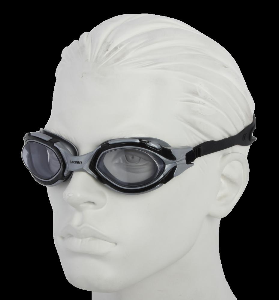 Очки плавательные Larsen S41 черный/серебро (TPE)