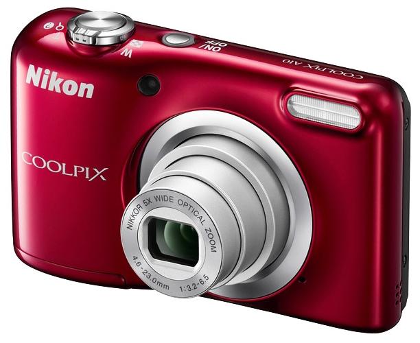 Nikon Coolpix A10, red - (16.44 млн, оптический zoom: 5x, 230000 точек, 2.70 дюйма)