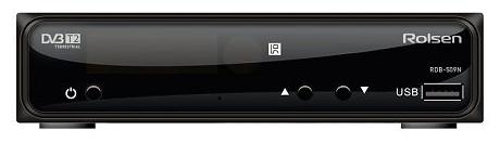 Rolsen RDB-510N - Исполнение внешнее; автономный; DVB-T, DVB-T2; HD - 720p, 1080i, 1080p; видеозахват - нет; пульт ДУ - есть • Формат