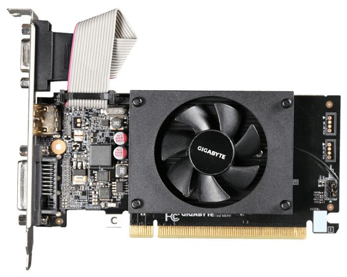 nVidia GeForce GT710 Gigabyte PCI-E 1024Mb (GV-N710D3-1GL) - (NVIDIA GeForce GT 710, 28 нм, 954 МГц, 1024 Мб GDDR3@1800 МГц 64 бит, TDP 19 Вт • Разъёмы: DVI, поддержка HDCP, HDMI, VGA.)