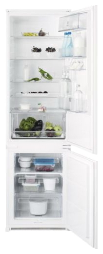 Electrolux ENN 93111 AW - (встраиваемый холодильник, 303 л (клим.класс SN, T), компрессоров 1, камер 2, дверей 2. Хол-ник 228 л (разм. капельная система). Мор-ник 75 л (разм. ручное). ШГВ 54x55.2x184.2 см. Управление электромеханическое. Энергопотр-е класс A+. белый / пластик/металл)