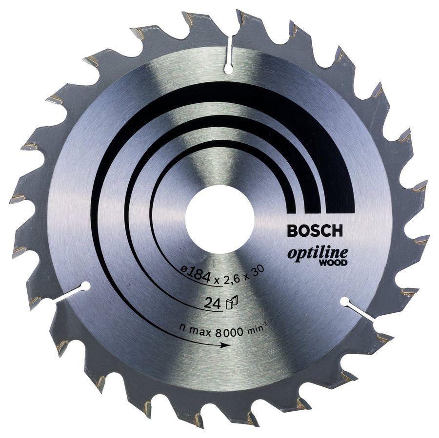 Bosch2608640610, по дереву - диск отрезной; D:184 мм; d:30 мм; толщина 2,6 мм; для резки дерева; 8000 об/мин