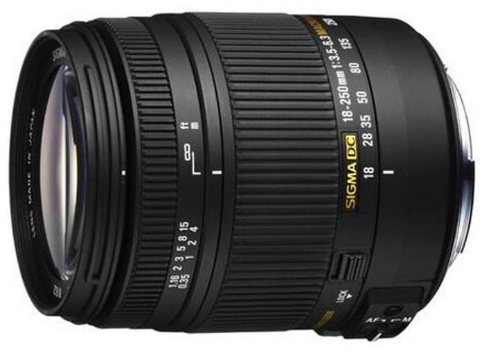 Sigma AF 18-250mm f/3.5-6.3 DC MACRO OS HSM Canon - стандартный Zoom; ФР 18 - 250 мм; ZOOM 13.9x; F3.50 - F6.30 • Автофокус есть. Макрорежим