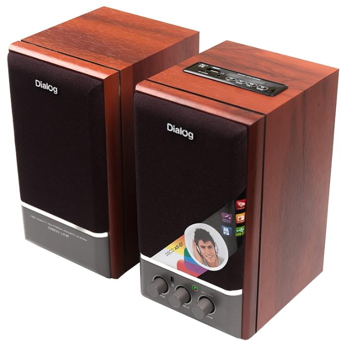 Dialog AD-07 cherry - 24 Вт; 20-20000 Гц; полос 1; USB для флэшки есть; корпус - MDF; питание от бытовой электросети; пульт ДУ - беспроводно