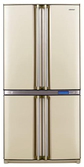 Sharp SJF96SPBE - (холодильник с морозильником, 605 л (клим.класс ST), отдельно стоящий, компрессоров 1, камер 2, дверей 4. Хол-ник 378 л (разм. No Frost). Мор-ник 211 л, внизу (разм. No Frost). ШГВ 89x77x183 см. Дисплей есть. Управление электронное. Энергопотр-е класс A (573 кВтч/год). бежевый)