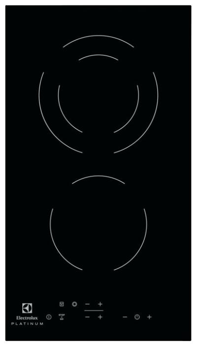 Electrolux EHF 93320 NK - (независимая, электрическая, панель управления спереди, переключатели сенсорные • всего конфорок 2, керамических 2, конфорок Hi Light 2, двухконтурных 1, панель - стеклокерамика • Цвет панели конфорок - черный)