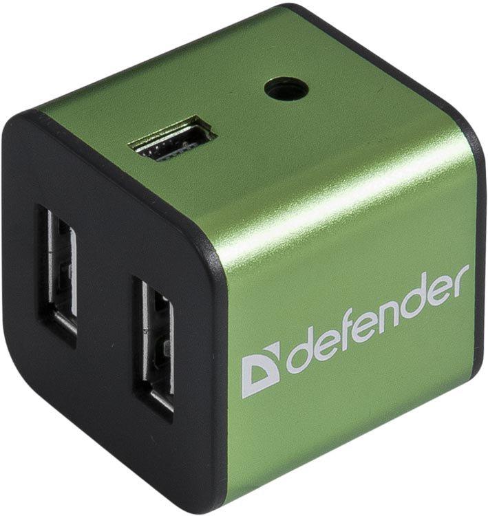 USB-хаб Defender QUADRO IRON, Green 83506