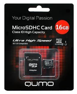 ����� ������ Qumo microSDHC class 10 UHS-I U1 16GB + SD adapter