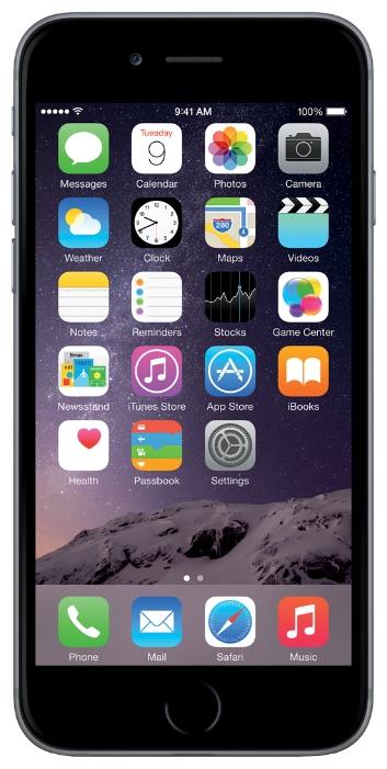 Apple iPhone 6 16Gb (как новый), Space Gray - (; GSM 900/1800/1900, 3G, 4G LTE, LTE-A Cat. 4, VoLTE; SIM-карт 1 (nano SIM); Apple A8, 1400 МГц; RAM 1 Гб; ROM 16 Гб; 8 млн пикс., встроенная вспышка; есть, 1.2 млн пикс.; датчики - освещенности, приближения, гироскоп, компас, барометр, считывание отпечатка пальца)