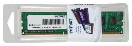 Patriot Memory PSD38G16002 - 1 модуль 8 Гб; DDR3; DIMM 240-контактный; 1600 МГц; 1.5 В • ECC - нет; Registered - нет • CL 11