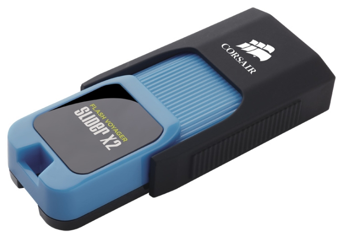 Corsair Flash Voyager Slider X2 128GB, Black blue - (128 Гб; USB 3.0; чтение 200 Мб/с; запись 90 Мб/с)